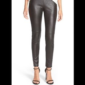 H&M High Waisted Faux Leather Leggings, size 6
